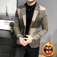 Men's Suits & Blazers 2021 Men Winter Fleece Suit Jacket High-quality Self-cultivation Warmth Fashion Casual Maj Clothing Plaid Blazer Coat