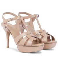 Идеальный летний дань женские сандалии патентная платформа из патентной платформы высокие каблуки переплетающий ремешок леди гладиатор сандалийская вечеринка свадьба с коробкой