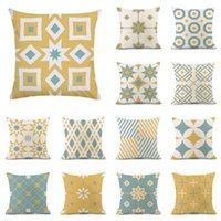 Cushion Decorative Pillow Yellow Blue Geometric Cushion Cover For Office Sofa Car Home Decor Case Nordic Style Striped Throw Pillows 45x45cm