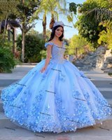 Blush Sky blue Quinceanera Dresses 2021 off shoulder Sequins Beads Flowers Princess Party Sweet 16 Ball Gown Vestidos De 15 Años