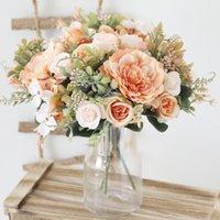 Decorative Flowers & Wreaths Autumn Artificial Peony Bride Silk Rose Bouquet DIY Wedding Home Garden Decoration Accessories Fall Hydrangea F