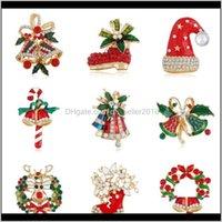 PINS, DROP LIVRAISON 2021 Noël mignon elk Garland Bells Bowknot Broche de strass coloré pour filles Cadeau de mode Vêtements de mode bijoux Aessor