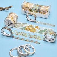 Cadeau cadeau 6Roll / Set Washi Ruban Japonais Retro Paper Stickers DIY Décoratif Set Scrapbooking Adhésif Radhitape Stationaire