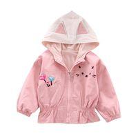 Girls Windbreaker Spring And Autumn Toddler Baby Girl Cartoon Outerwear Casual Long Sleeve Ear Design Hoodie Sweatshirt Coat