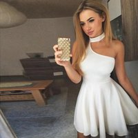 Party Dresses A-Line Halter Sleeveless Short Prom Dress White Graduation Simple Black Cocktail Homecoming 2021