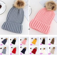 Adults Thick Warm Beanie Winter Hat For Women Soft Stretch Cable Autumn Knitted Pom Beanies Hats Patchwork Woman Skull Caps OWF10359