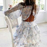 Boho a inspiré Harlow Floral Print Robe à volants Femmes Sans retour en V robe de cou