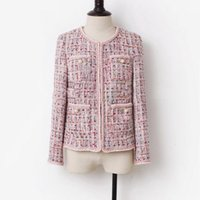Women's Jackets Tweed Pink Plaid Jacket Autumn   Winter Short Small Fragrance Wind Long Sleeve Business Ladies One Piece