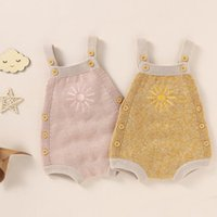 Rompers Baby Girls Boys Knitted Romper Winter Autumn Sweet Style Infant Creative Sun Embroidery Sleeveless Suspender Jumpsuit For