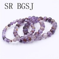 6mm 8mm 10mm Wholesale Purple Phantom Natural Gems Stone Stretch Bracelet 7inch 7.5inch 8inch Beaded, Strands