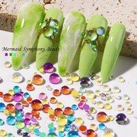 Nail Art Decorations 300 Pcs Crystal Beads Nails Rhinestones Aurora Translucent Pearl Decoration 3D Glitter Diamond Jewelry