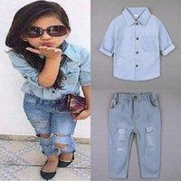의류 세트 키즈 슈트 데님 유아용 복장 어린이 의상 티셔츠 + 청바지 바지 2pcs 여자 패션 의류 세트 0 ~ 7 년