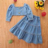 2021 Fashion Toddler Girls 2pcs Clothes sets Solid Denim Off Shoulder Long Sleeve T Shirts Ruffles A Line Skirt Children Clothing Set