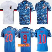 20 21 Japão Equipe Nacional Okazaki Kagawa Mens Futebol Jerseys Honda Honebe Nagatomo Casa Fora Branco Camisas Futebol Fardos CAMISA DE CAMISA