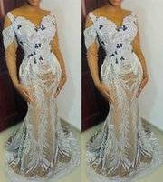 2021 Plus Size Arabic Aso Ebi Silver Sexy Mermaid Prom Dresses Lace Beaded Crystals Evening Formal Party Second Reception Bridesmaid Gowns Dress ZJ227