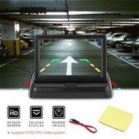 "Car Video 4.3"" Folding Monitor Display + Waterproof Wide Angle Rear View Backup Camera Universal Reversing Assistance Kit"
