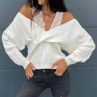 2020 мода сексуальное кружево с плечо с низким вырезом с длинным рукавом женщин блузка сексуальные вершины и рубашки с длинным рукавом женщины рубашки зима вершины x0521
