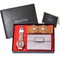 Armbanduhren 4 teile / satz Genf Frauen Uhr Leopard Druck Silikonband Gelee Gel Damen Quarz Armbanduhr Brieftasche Gürtel Top Luxus Geschenke Sets