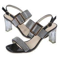 Sandals Sexy Shiny Crystal Women Summer Ankle Strap High Heels Open Toe Woman Shoes Party Wedding Transparent Heeled