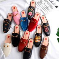 Kadın Deri Loafer'lar Muller Tasarımcı Terlik Ayakkabı Metal Toka Moda Bayan Princetown Terlik Bayanlar Rahat Katır Flats Size35-41