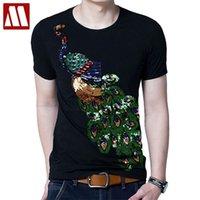 여름 우아한 티셔츠 남성 공작 스팽글 장식 조각 티셔츠 남성 패션 코튼 탑 티 셔츠 남성 사쿠라 옷 210707