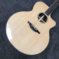 Customized 43-inch Jumbo Body Acoustic Guitar Solid Spruce Wood Ebony Fingerboard Cutaway LODEN type