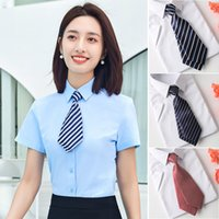 Neck Ti Luxury Striped Profsional Women's Double Necktie Accsori Bank El Formal Decoration Small Necktie Short