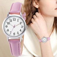 women quartz watch easy-to-read wristwatch with Arabic numerals plain pu leather dial sweet-colored female bracelet