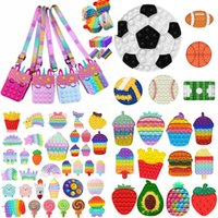 US STOCK Fidget Toys Push It Bubble Antistress Toys Christmas Halloween Anti-stress Sensory Gifts Reusable Squeeze Gifts Stress Reliever Pencil bag Coin Purse