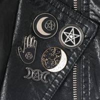 Pentagram Moon Witch Triple Pins Созвездие Волшебника Коллекция Броши Witchy Goth Ювелирные Изделия Лацкор для Wi