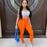 Women's plus size Tracksuit20339x Sexy Lace Up Color Contrast High Waist Hip Raising Jumpsuit Early Summer 2021 Wear