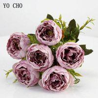 Yo cho 6 teste / bouquet peonie fiori artificiali peonie di seta bouquet bianco rosa matrimonio decorazione domestica falsa peonia rosa fiore t191029