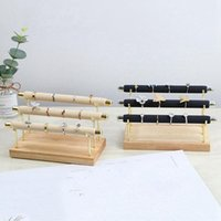 Jewelry Pouches, Bags 2 Pcs Wooden Display Stand Ring Holder T-Bar Bracelets Anklets Stand, Wood Color & Black