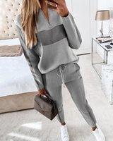 Дизайнерские женские серые пэчворки Tracksuits Zipper Print с длинным рукавом толстовки Топы + брюки Двух частей Набор наборных нарядов Повседневная беговая костюмы плюс размер одежды для одежды Mujer