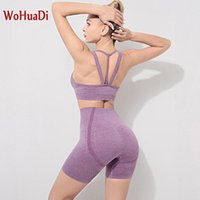 WOHUADI 2 Pcs Yoga Shorts Set Women Sportswear Yoga Set Seamless Sport Bra Shorts Gym Fitness Workout High Waist Legging