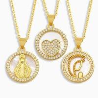 Açacağı Yuvarlak Bakire Mary Kolye Kadınlar Için Altın Kabuk Kalp Kolye Koruma Takı Guadalupe Nket66 Kolye