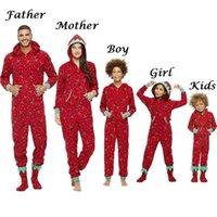 Family Matching Christmas Pajamas Romper Jumpsuit Women Men Baby Kids Red Print Xmas Sleepwear Nightwear Hooded Zipper Outfits 210727
