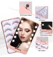 Makeup Mirror LED свет с 5 пар накладные ресницы Организатор Организатор складной портативный сенсорный экран Светодиоды зеркала для хранения ресниц