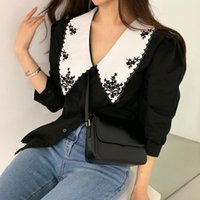 Women's Blouses & Shirts Blusas Mujer De Moda 2021 Floral Embroidery Elegant Turn Down Collar Puff Sleeve Blouse Korean Clothes Women Tops