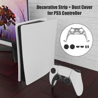 For PS5 Game Controller Decorative Strip Cover + Built-in Mic Speaker Dust Plugs Handle Controllers & Joysticks