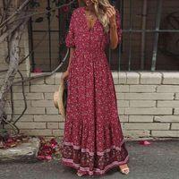 Yaz Bohemian Çiçek Baskılı Plaj Elbise Kadın V Boyun Kısa Kollu Tatil Sundress Robe Femme Maxi Uzun Vestido Kaftan Günlük Elbiseler