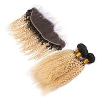브라질 금발 옴 브레 인간의 머리카락은 레이스 정면 4pcs 로트 Kinky 곱슬 곱슬 # 1b / 613 금발 ombre 13x4 전체 레이스 정면 3bundl tscf