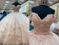 Unique Blush 3D Floral Flowers Champagne 2022 Quinceanera Dresses Off the shoulder Ball Gown Lace Applique Tulle Sweet 15 16 Charra Prom Evening Formal Party Dress