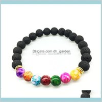 Charme bijoux 8mm coloré unisexe unisexe chakra bracelets d'énergie naturel perles de pierre de la lave noire élastique bracelet de diffuseur d'huile essentielle