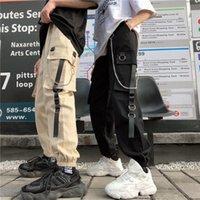 Unisex Women Men Cargo Pants Harajuku Chain Pockets Ankle Trousers High Waist Hip-hop Safari Style Harem Women's & Capris