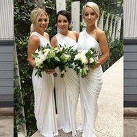 One Shoulder Sheath Bridesmaid Dress Draped Chiffon Long Party Dresses Maid Of Honor Wear Wedding Guest Dresses