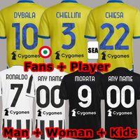 Dybala Morata Chiesa Soccer Jerseys 2021 2022 Locatelli McKennie Football Kit shirt 21 22 Juve Chiellini Bonucci الرجال مجموعات الاطفال