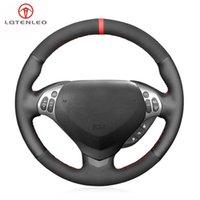يغطي عجلة القيادة Lqtenleo أسود جلد طبيعي غطاء سيارة من جلد الغزال من جلد الغزال ل TL Type-S 2007 2008 (3-تكلم)