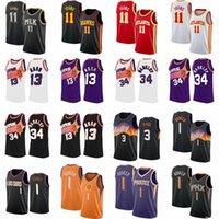2021 Trae 11 Genç Basketbol Formaları Erkekler Vintage Chris 3 Paul Jersey Devin 1 Booker Steve 13 Nash Charles 34 Barkley Mor Siyah Şehir Retro Gömlek