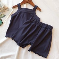 2 adet / takım Rahat Kolsuz Tops + Pantolon Çocuk Giysileri Katı Renkler Erkek Giyim Seti Toddler Erkek Kız Yelek Çocuk Pijama Yaz 833 Y2